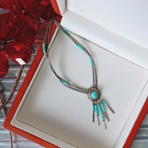 Vintage Necklace Native American Turquoise Silver